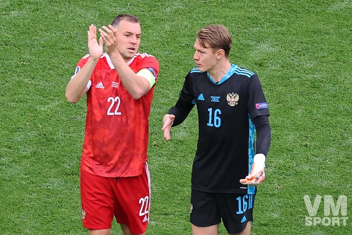 Футбол. ЕВРО-2020. Сборная России. Артём Дзюба и Матвей Сафонов